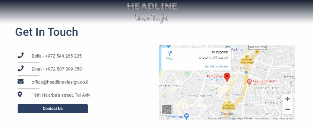 מפה מוטמעת בתוך דף קשר של אתר